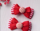 Christmas red white strips candy bow hair clip set. Christmas gift.