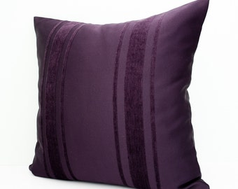 Purple stripes pillow cover - decorative throw pillow - accent cushion - throw cushion - pillowcase - 20x20 inches