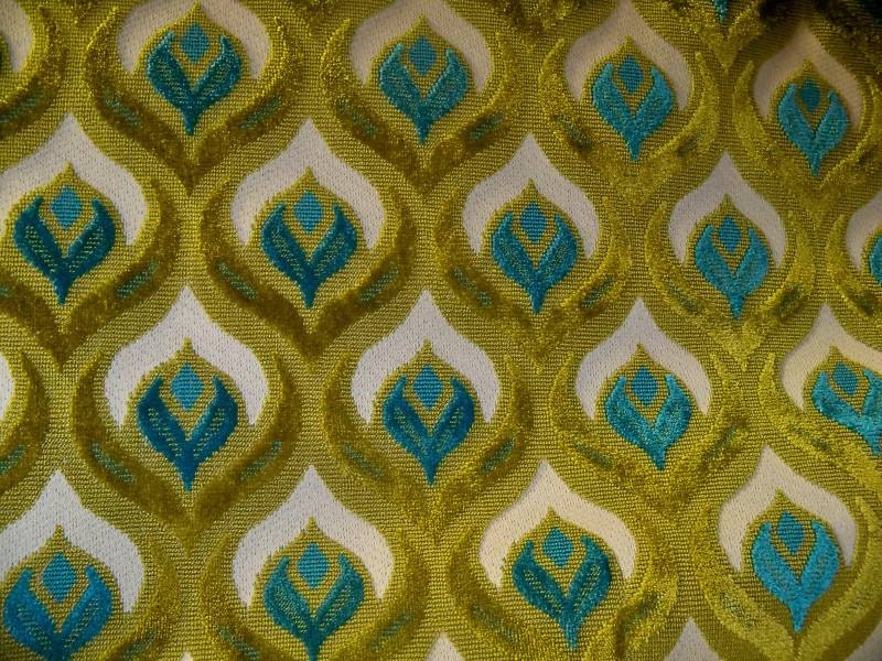 Koplavitch Peacock Cut Velvet Fabric 10 Yards Cream