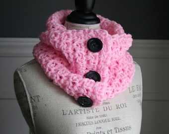 PALE PINK Cowl Scarf with 3 black buttons, crocheted