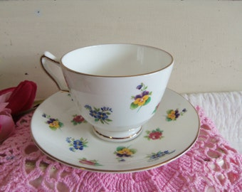 Vintage Staffordshire Crown China Rose Pansy Teacup and Saucer Set  B274