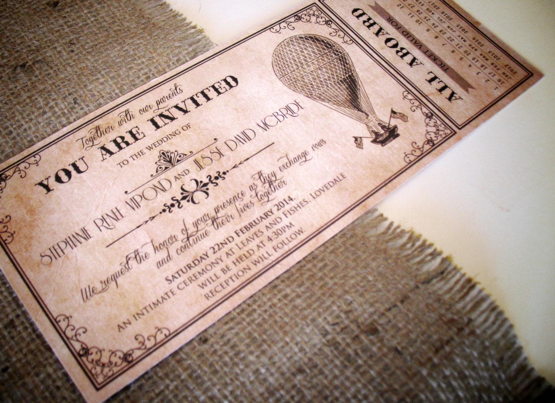Vintage Ticket Wedding Invitations Onepaperheart Stationary