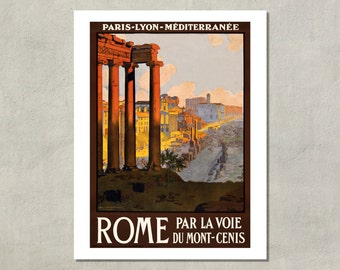 Rome Travel Poster, 1920 - 8.5x11 Travel Print - also available in 13x19 - see listing details