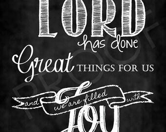 Scripture Art - Psalm 126:3 Chalkboard