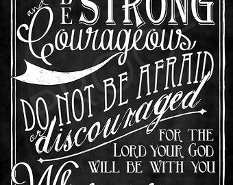 Scripture Art  - Joshua 1:9 Chalkboard Style