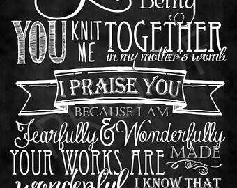 Scripture Art - Psalm 139:13-14 Chalkboard Style