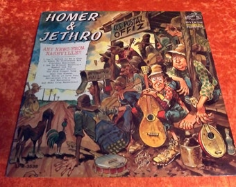 SALE Vintage 1966 Homer and Jethro Jack Davis Vinyl Record Album Any News From Nashville RCA Victor