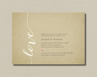 Printable Couples Shower Invitation - Love (BR122)