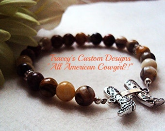 """Stunning """"All American Cowgirl"""" Marble Stone Bracelet - CUSTOM MADE DESIGNS"""