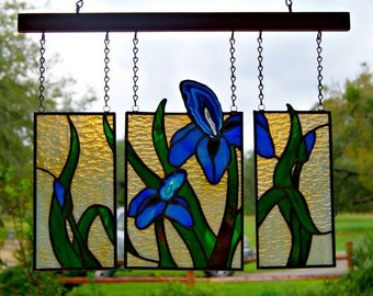 Three Panel Iris Hanging Stained Glass Mixed Media Art Blue Agate Home Decor Original Art