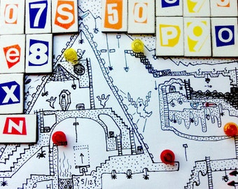 Justinia World 1 - Printable hand drawn Dungeons & Dragons style board game map for kids.