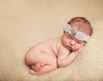 Vintage Inspired Silver Sequin Tieback, Baby Photo Prop, Baby Tieback, Newborn Embroidered Tieback, Vintage Inspired Lace Headband, RTS