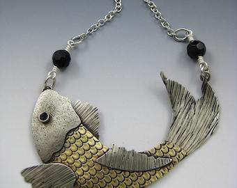 Koi Fish Necklace, Koi Fish, Mixed Metal Koi Fish Necklace RP0465