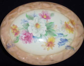 Vintage Hand Painted Porcelain Tan with Flowers Oval Trinket Box, Vintage Trinket Box, Porcelain Trinket Box, Hand Painted Trinket Box,