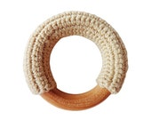 Organic crochet covered natural wooden baby teething ring  teether