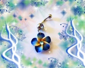 Belly Ring, Mini Deep Sea Blue Tropical Hawaiian Plumeria Flower, With Aqua Blue Crystal, Hawaii Belly Button Jewelry For Women and Teens