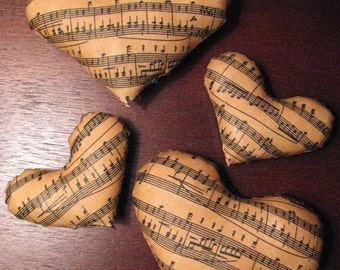 4 Sheet music cotton fabric hearts, bowl filler, stuffed, stiffened fabric