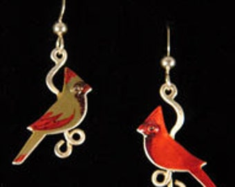 Matched Pair of Cardinal Earrings