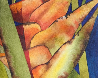 Art Original Watercolor Painting Close-up of  Tropical Hawaiian ORANGE HELICONIAS