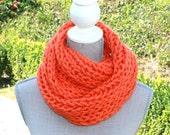Orange Hand Knit Cowl Neck Scarf, Chunky Cowl Neck Scarf, Infinity Scarf