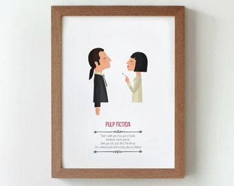 illustration, print, Pulp Fiction. Quentin Tarantino, Tutticonfetti, Wall art, Hanging wall, Printed art, Decor home, Gift idea. Bedroom. .