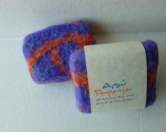 Felted Soap, Felted Handmade Soap -  Acai Papaya