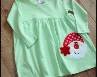 Girls Custom Monogram Christmas Santa Empire Waist Dress Cotton Knit Polka Dot First Christmas