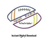 DD Football HOUSE DIVIDED Applique - Machine Embroidery Design - 4 Sizes - Instant Download