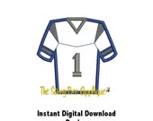 DD JERSEY Football Soccer Rugby Lacrosse Applique - Machine Embroidery Design - 2 Designs - 4 Sizes - Instant Download