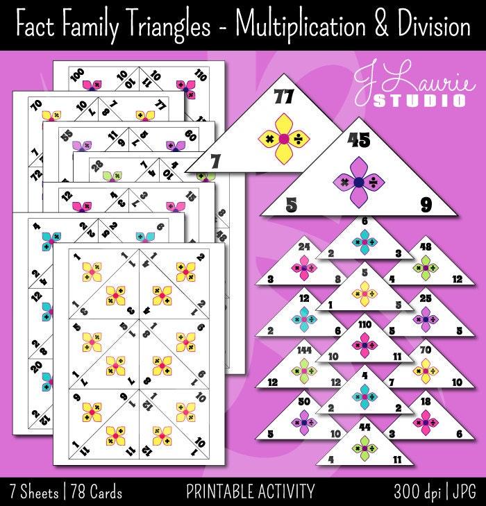 fact family traingles multiplication division math. Black Bedroom Furniture Sets. Home Design Ideas