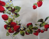 Vintage Genuine Wilendur Red Strawberry Tableclothe Fast Colors Hand Printed Original Tag Unused