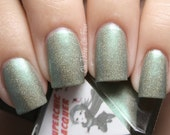 Dragon Slayer Nail Polish -  Muted Apple Green Chrome Holographic - Full Size 15 ml Bottle