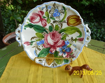 "Vintage 11"" Ceramiche-Italy-Italian-Reticulated Handle Cake/Bakery/Display Plate-Large Pink Roses-Multi Colored Floral"