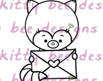 Special Delivery Red Panda Valentine Digital Stamp