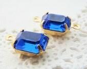 Vintage Swarovski Sapphire Blue 10x8mm Octagon Rhinestones Glass Stones Brass Drop or Connector Settings - 4