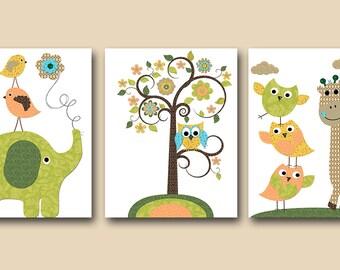 Baby Boy Nursery Decor Children Art Print Baby Nursery Print Owl Decor Owl Nursery Giraffe Art Elephant Nursery set of 3 Green Orange