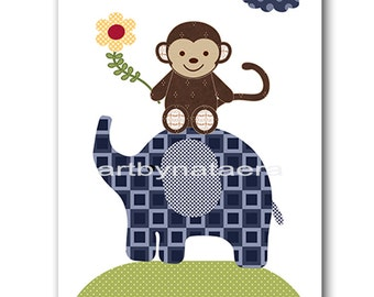 Baby Nursery Decor Baby Boy Nursery Kids Wall Art Kids Art Baby Room Decor Nursery Print Boy Elephant Nursery Monkey Nursery blue green