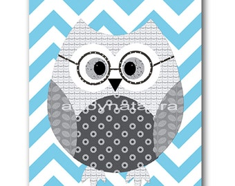 Owl Decor Owl Nursery Baby Nursery Decor Baby Boy Nursery Kids Wall Art Kids Art Baby Room Decor Nursery Print Owl Blue Gray