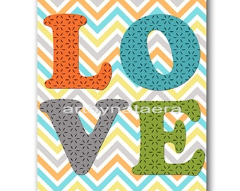 Love Nursery Baby Nursery Decor Baby Boy Nursery Kids Wall Art Kids Art Baby Room Decor Nursery Print Boy Love Blue Gray Green Orange