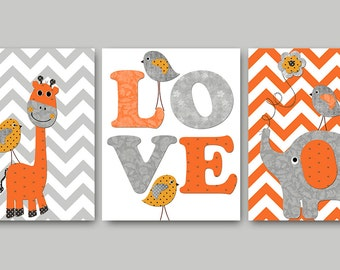 Bird Elephant Nursery Giraffe Nursery Baby Nursery Decor Baby Boy Nursery Art Kids Wall Art Kids Art Nursery Print set of 3 Gray Orange