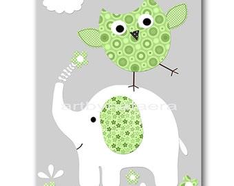 Kids Wall Art Elephant Nursery Baby Nursery Decor Baby Boy Nursery Kids Art Baby Room Decor Nursery Prints Boy Print Owl Green Gray