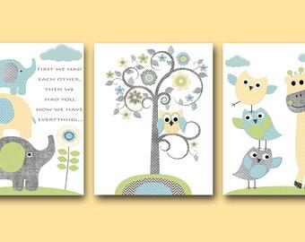 Owl Nursery Elephant Nursery Girl Baby Boy Nursery decor Children Art Print Baby Nursery Print Nursery Print set of 3 tree owl blue yellow /