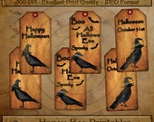 Primitive Halloween Crow Witch Hang Tags 13142 Printable Digital JPEG File Instant Download Uses Dolls Bears Gifts Scrapbooking