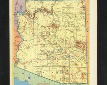 Vintage Map Arizona From 1953 Original