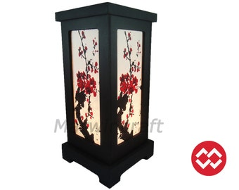 No Screw Design Asian Oriental Japanese Sakura Tree Branch Cherry Blossom Zen Bedside Floor Table Lamp Desk Paper Light Shades Gift Decor
