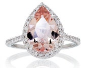 LARGE Version 14K White Gold 12x8 mm Pear Cut Morganite Engagement Ring Shape Diamond Halo Alternative Engagement Solitaire Anniversary Ring