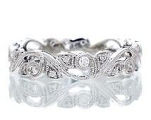 14 Karat White Gold Diamond Vine Infinity Forever Twist Eternity Intertwining Leaf Anniversary Wedding Band Ring