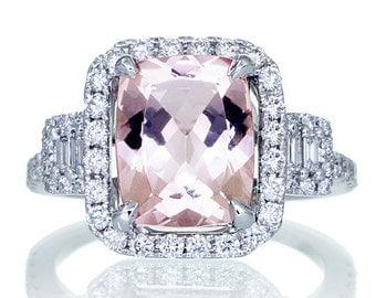 14K White Gold 10x8 Cushion Cut Diamond Halo Three Stone Morganite Engagement Ring Bridal Alternative Wedding Anniversary Jewelry Ring