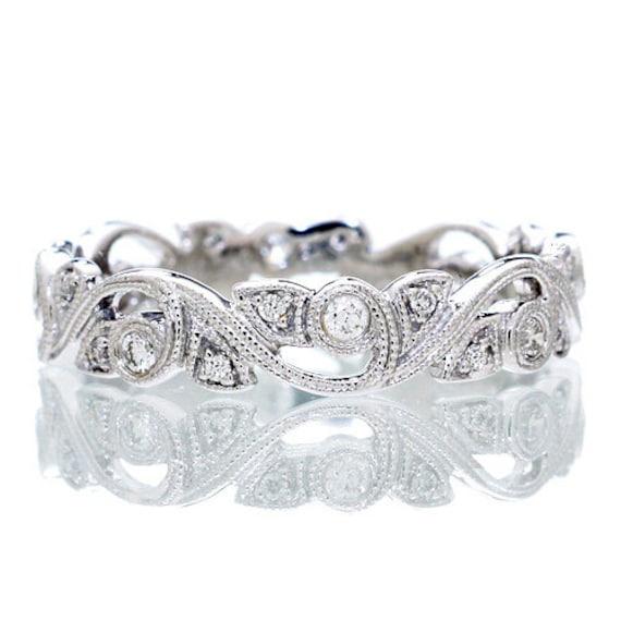 14 Karat White Gold Diamond Vine Infinity Forever Twist