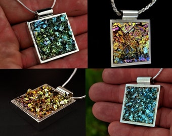 Bismuth Crystal Square, Custom Order, in a  Bezel on a Chain or Leather Cord, Bismuth Jewelry